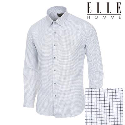 엘르옴므 가격인하 미니체크 레귤러카라 슬림 긴소매셔츠 E184S-24792