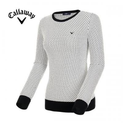 [캘러웨이]여성 라운드넥 자카드 패턴 스웨터 CWSRI5322-199_G