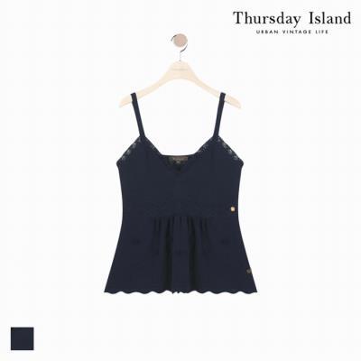 [Thursday Island]여성 손뜨개 꽃장식 끈나시형 베스트(T184MVT231W)