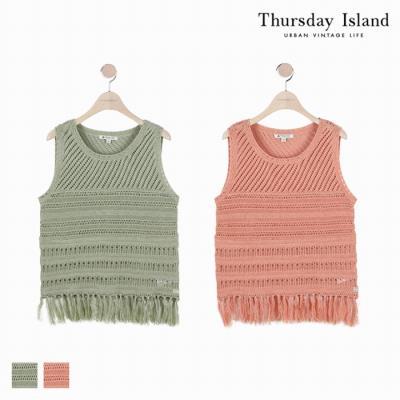 [Thursday Island]여성 밑단 술장식 조직변형 베스트(T184MVT232W)