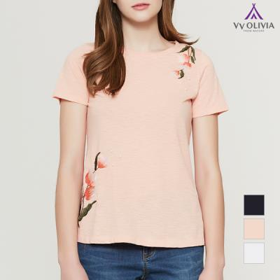 [비비올리비아] 꽃가지 자수 티셔츠_VVCASUM3311
