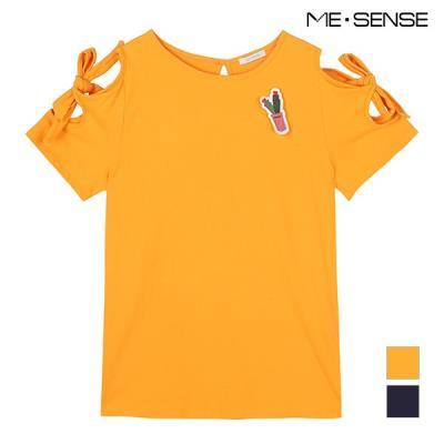 [미센스] 선인장 패치 오프숄더 티셔츠_MA86TSP453C