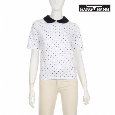 [뱅뱅] 여성 도트 카라 티셔츠 흰색