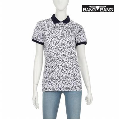 [뱅뱅] 여성 패턴 카라 티셔츠 네이비