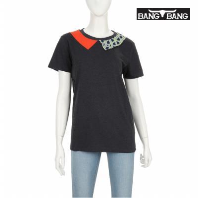 [뱅뱅] 여성 카라 장식 티셔츠 챠콜