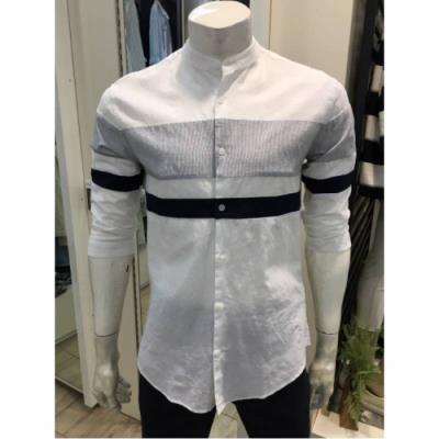 W몰 HUM 남성 차이나 배색 7부 화이트셔츠 FHNMCSS123