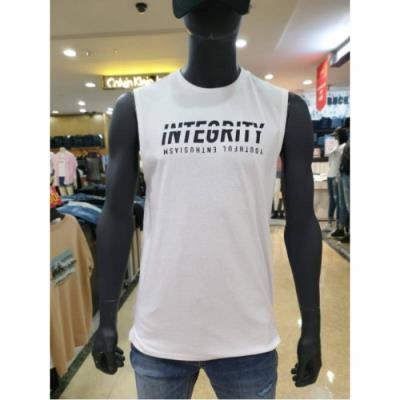 W몰 잠뱅이 남성 기본 레터링 민소매 티셔츠 AJ2WTS02