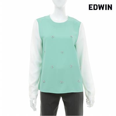 [에드윈 헨어스] 여성 소매 배색 큐빅 장식 블라우스 민트