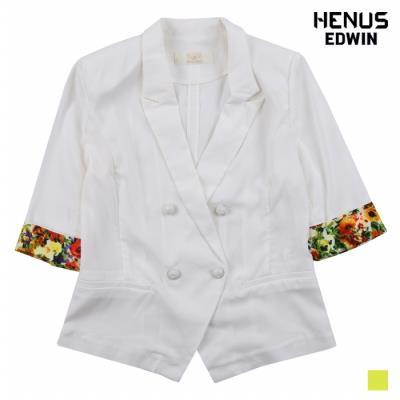 [헨어스] 여성 롤업 배색 더블 버튼 자켓