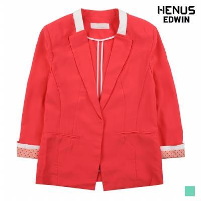[헨어스] 여성 솔리드 배색 포인트 자켓