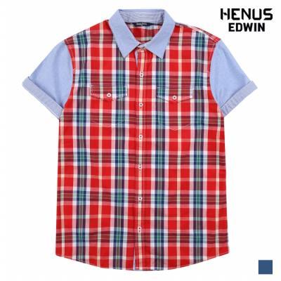 [헨어스] 공용 체크 배색 양포켓 반팔 셔츠