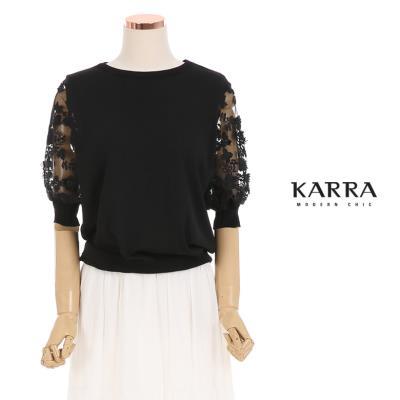 KARRA 티니소매플라워시스루니트_KB0MKN030C
