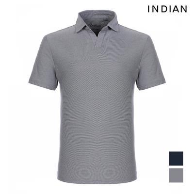[INDIAN] 오픈넥 솔리드 코튼 반팔 티셔츠_MIEASVM3100