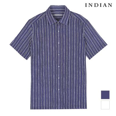 [INDIAN] 스트라이프 타소재 프린트 셔츠_MITNSVM4131