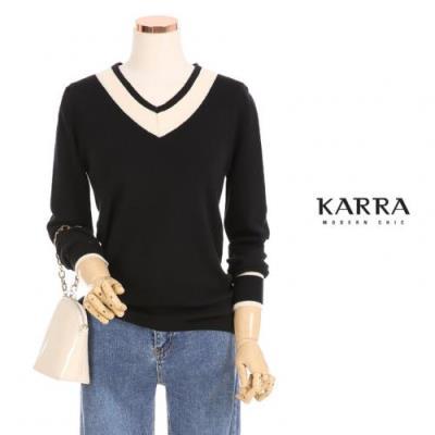 KARRA 앨모어배색브이넥니트_KB0FKN308C