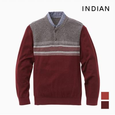 [INDIAN] 2in1 블럭형 울혼방 셔츠레이어드 니트_MITBPTF9401