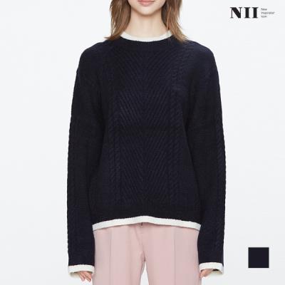 [NII] 여성 넥포인트 케이블조직 라운드스웨터_NNYBRUW9171