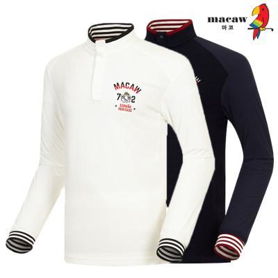 (남성)로고 자수 스프라이프 배색 반목 티셔츠_MHM4TH63