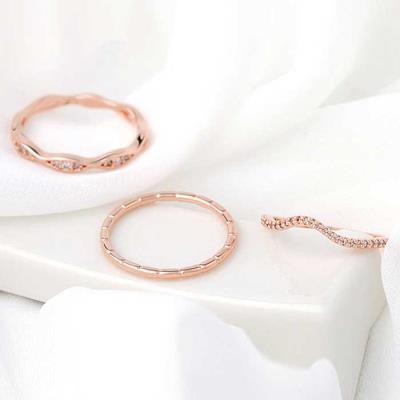 Mujer bonita Rings 로즈골드 3종세트 CH1650776