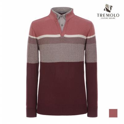 [TREMOLO] 하운드투스 배색 셔츠 레이어드 니트_TRBBPVF8356