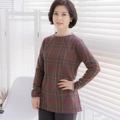 엄마옷 마담4060 체크핀턱기모티셔츠-QTE010057-