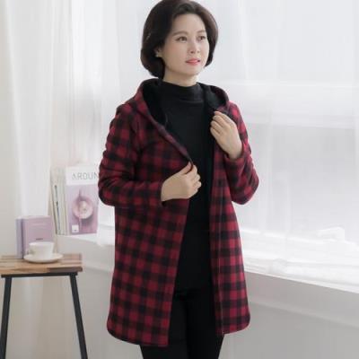 엄마옷 마담4060 후드기모체크자켓-QJK011012-