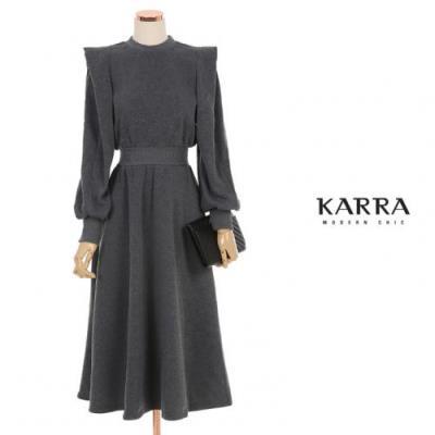 KARRA 어깨프릴밴딩기모원피스_KB0WOP584A