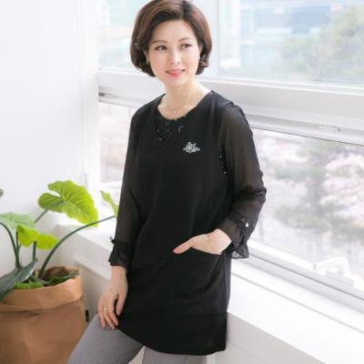 엄마옷 마담4060 이지포켓조끼-QVE101002-