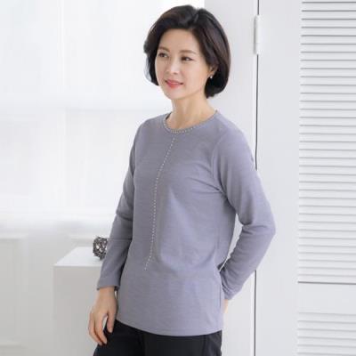 엄마옷 마담4060 빛이나는라운드티셔츠-QTE101024-