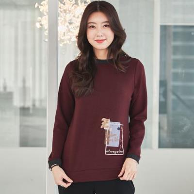 엄마옷 마담4060 마이배색라운드티셔츠-QTE101027-