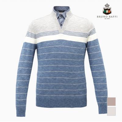 [BRUNO BAFFI] 한기장패턴 이중에리 컬러배색 티셔츠_MKOBPVS1501