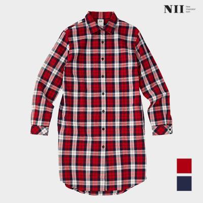 [NII] 여성 맥스롱 캐주얼 체크 셔츠_NNYNLVS1301