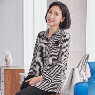 엄마옷 마담4060 플라워프린팅카라셔츠-QBL101014-