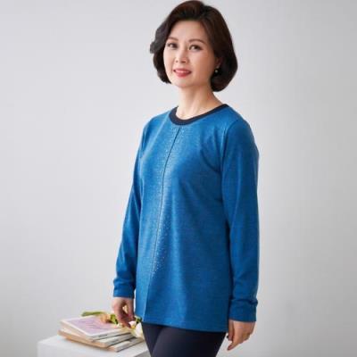 엄마옷 마담4060 샤인배색라운드티셔츠-QTE101050-
