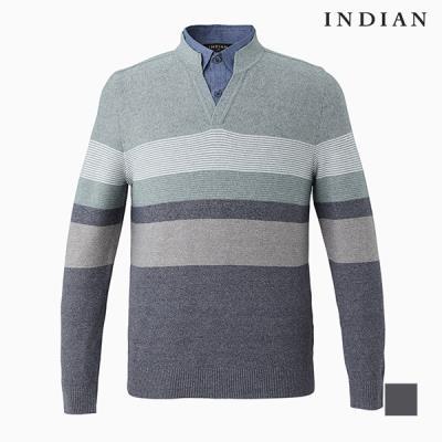 [INDIAN] 배색 셔츠 레이어드 니트_MITBPWS1211