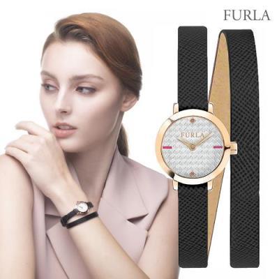 FURLA 훌라 빅토리아 더블 스트랩 블랙 레더 시계 R4251107501