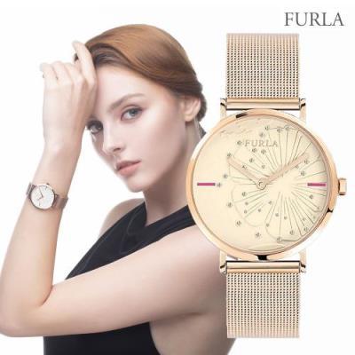 FURLA 훌라 지아다 플라워 로즈골드 메쉬 메탈 시계 R4253108501