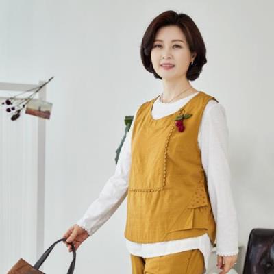 엄마옷 마담4060 베니생활한복조끼-QKC103002-