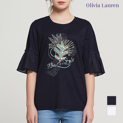 [올리비아로렌]자수 프린트 셔링소매 티셔츠_VOCASVM4221
