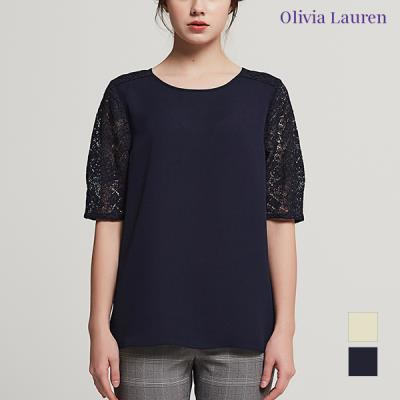 [올리비아로렌] 소매 레이스 패치 블라우스형 티셔츠_VOCASVM4321