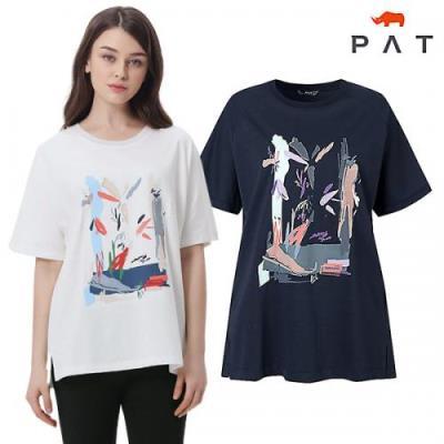 [PAT여성]원포인트 자수 프린트 티셔츠_QF45315
