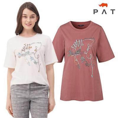 [PAT여성]원포인트 자수 디테일 티셔츠_QF45308