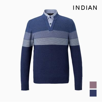 [INDIAN] 남방 에리 레이어드 4단컬러배색 패턴 니트_MITBPXS1111