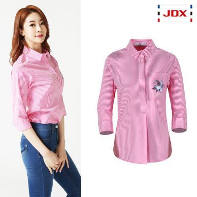 (여성)가슴포켓 포인트 세로스트라이프 7부셔츠_X2QMWSW51-PI