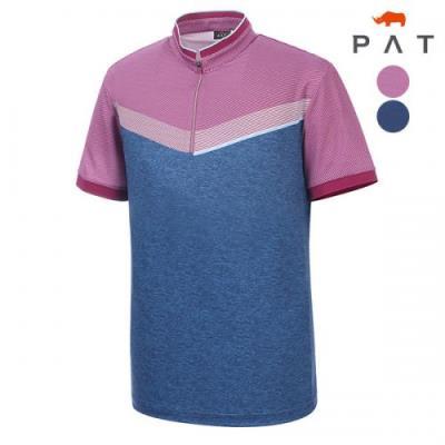 [PAT 남성]브이형 프린트 반집업 티셔츠_1D35432
