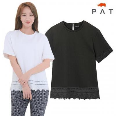 [PAT여성]밑단 레이스 배색 오버핏 티셔츠_1D45304