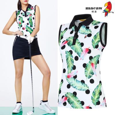 (여성)야자수 패턴 배색 카라 민소매 티셔츠_MIW2TN04