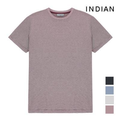 [INDIAN] 스트라이프 반팔 라운드넥 티셔츠_MIEASVM3120
