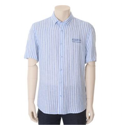 블루 스트라이프 자수 포인트 반팔 셔츠 (WST2TT46A)