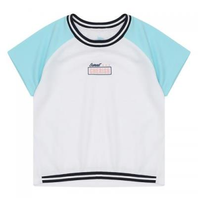 [에꼴리에]소매배색 레터링 반팔 티셔츠_WT